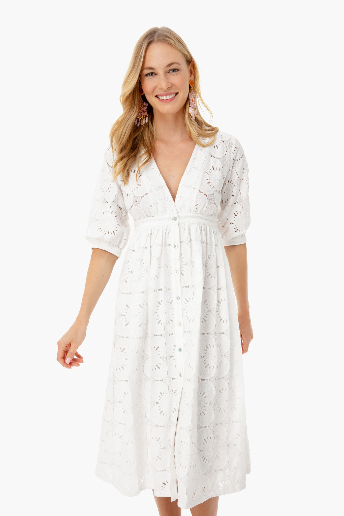 White Lace Button Front Dress