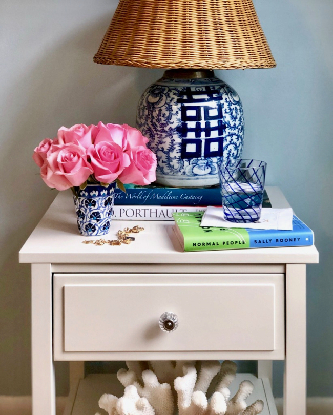White Nightstand with Shelf and Drawer and Blue and White Chinese Ginger Jar Table Lamp with Wicker Lampshade