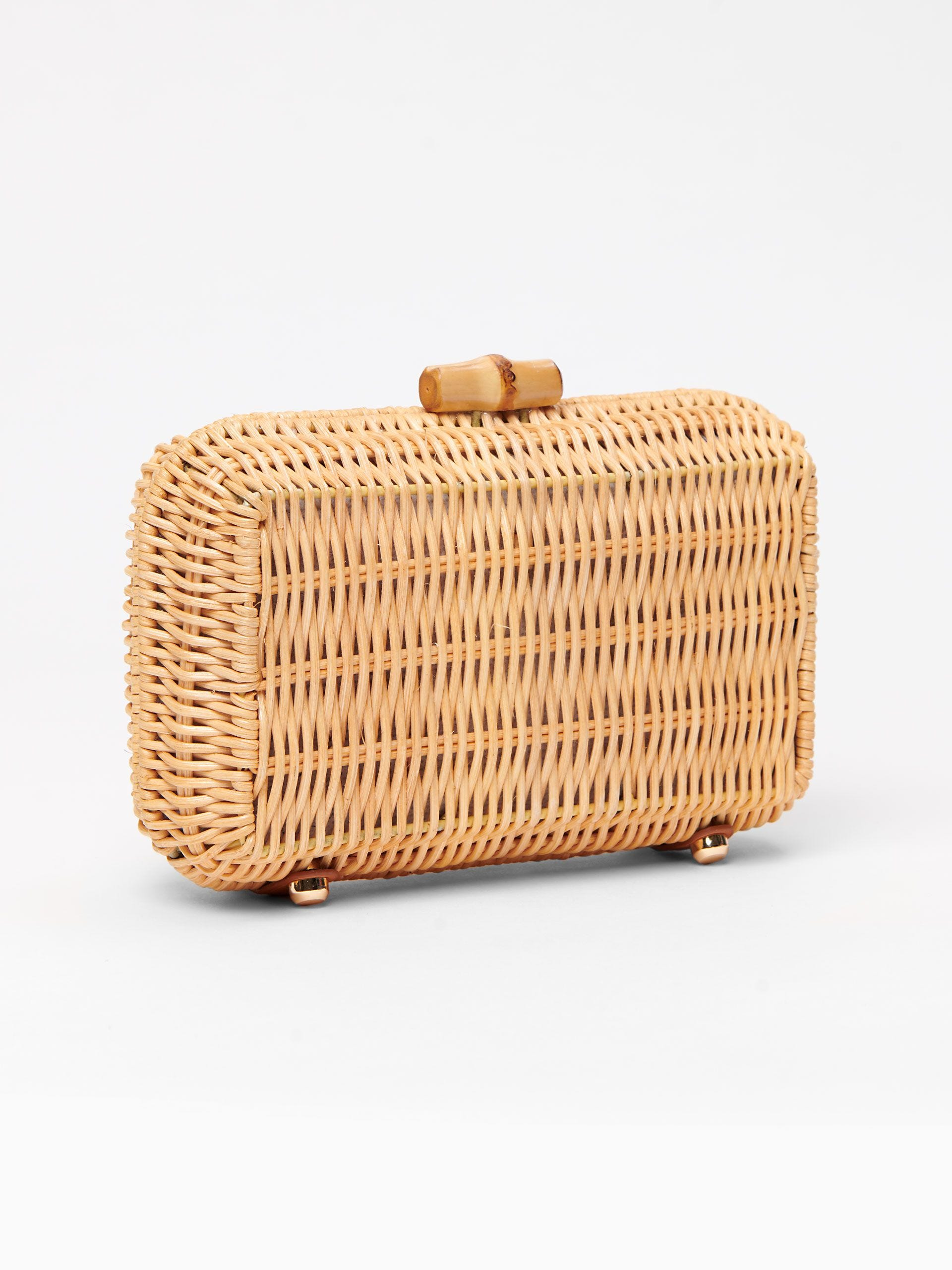 Wicker and Bamboo Clasp Clutch