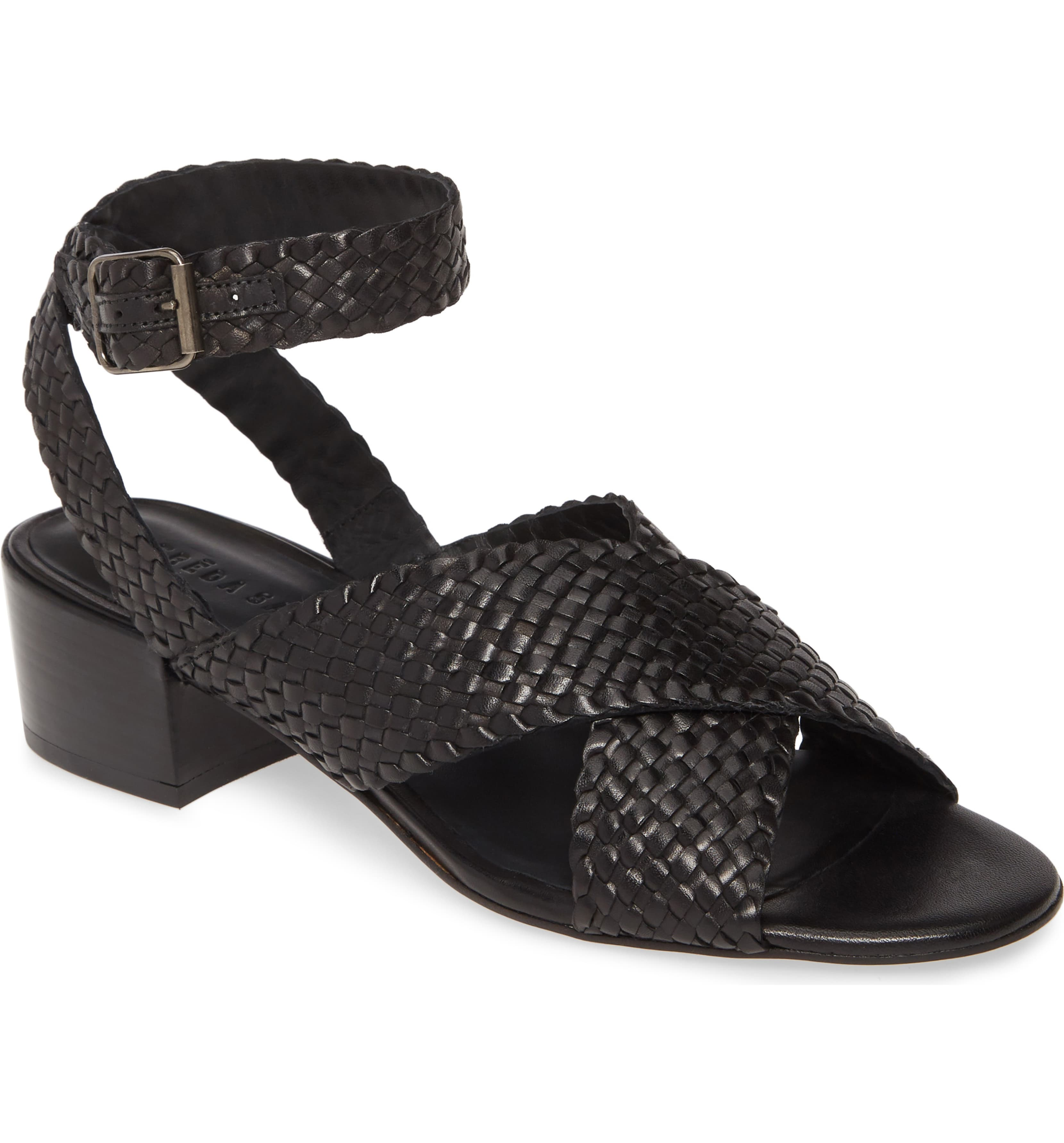 Woven Ankle Strap Heels