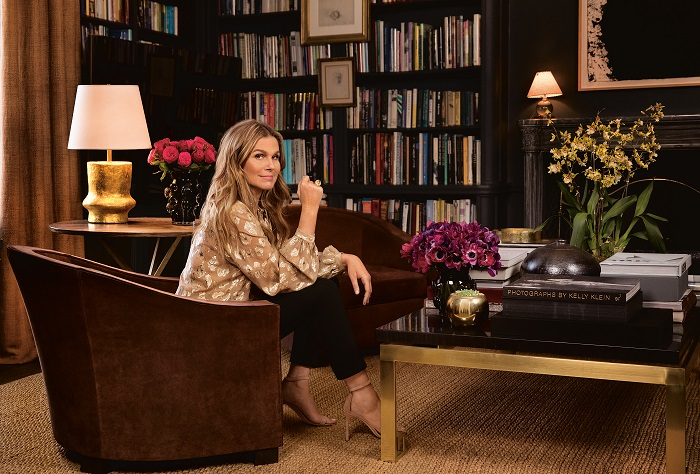 Aerin Lauder New York Apartment Dark Navy Charcoal Walls