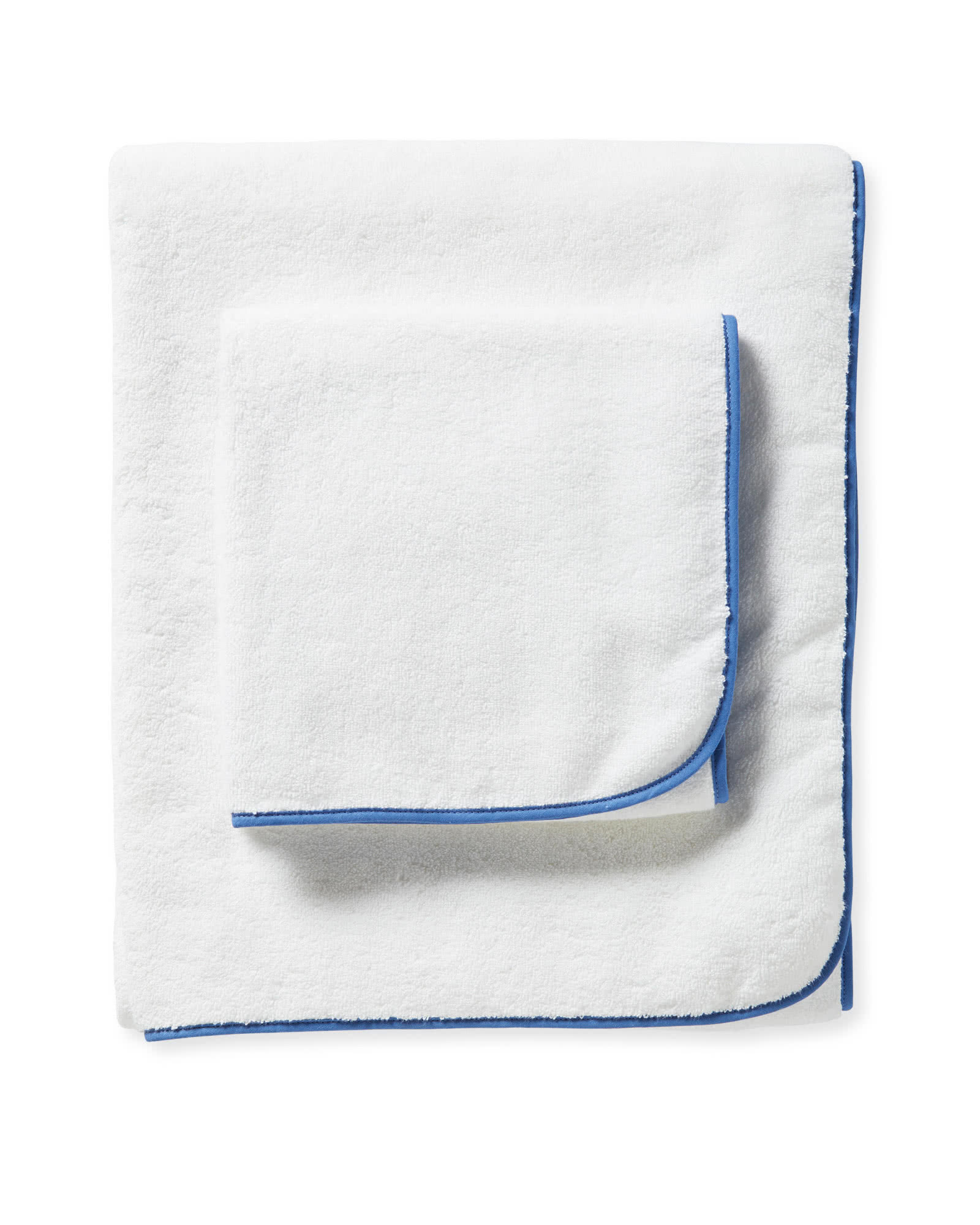 White Bath Towel With Blue Banded Border