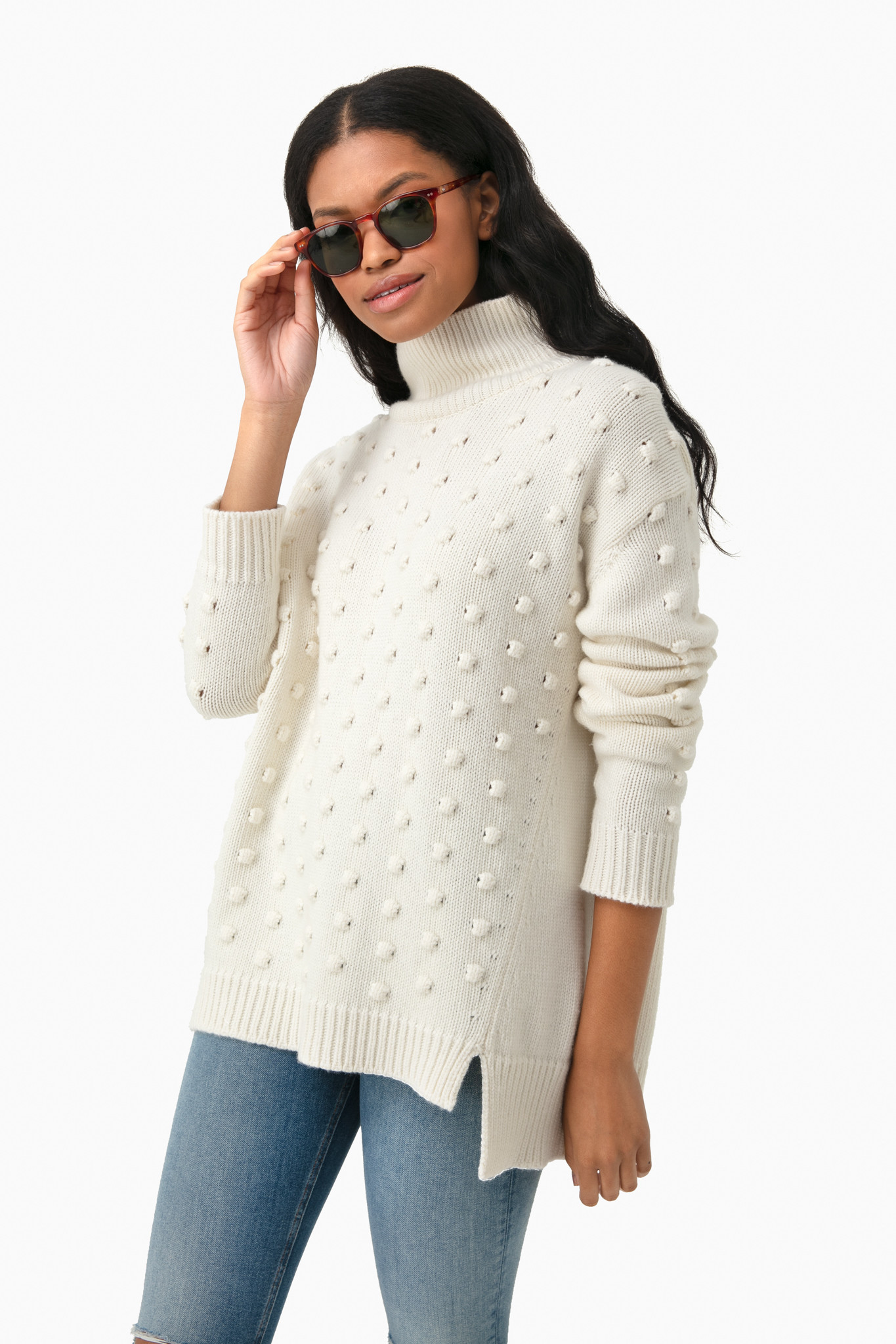 Ivory Popcorn Turtleneck Sweater