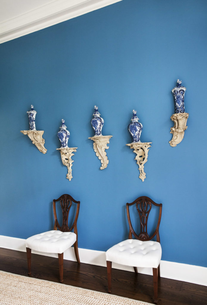 Aerin Lauder East Hampton Home Dining Room Blue Walls