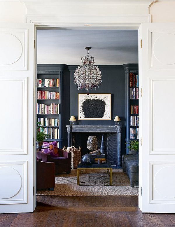 Aerin Lauder New York Apartment Dark Navy Charcoal Walls Fireplace Chandelier