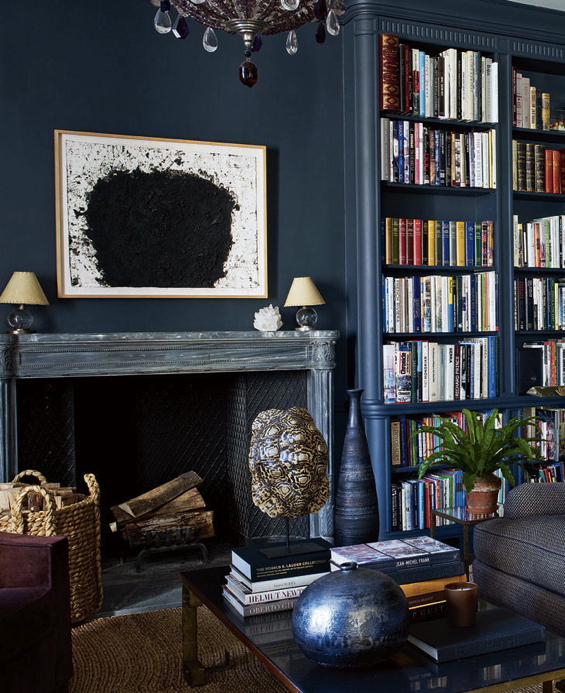 Aerin Lauder New York Apartment Dark Navy Charcoal Walls Fireplace