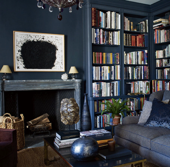 Aerin Lauder New York Apartment Dark Navy Charcoal Walls Chandelier