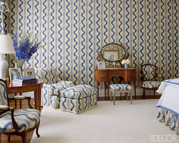 Aerin Lauder East Hampton Bedroom Toile de Nantes Blue and White
