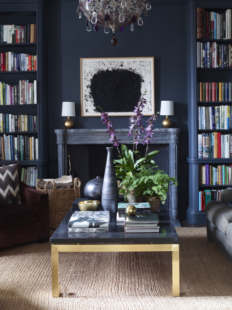 Aerin Lauder New York City Apartment Fireplace in the Library with Dark Navy Charcoal Walls
