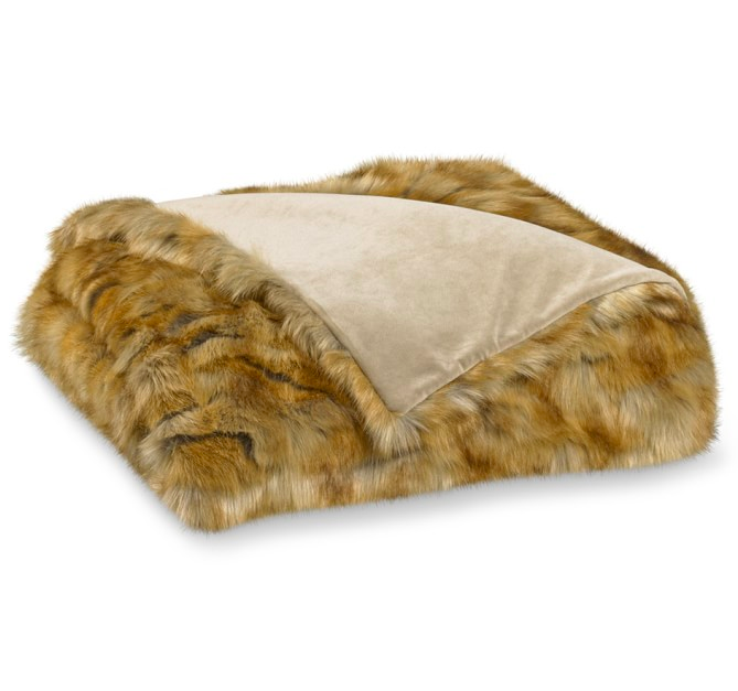 Amber Fox Faux Fur Throw Blanket