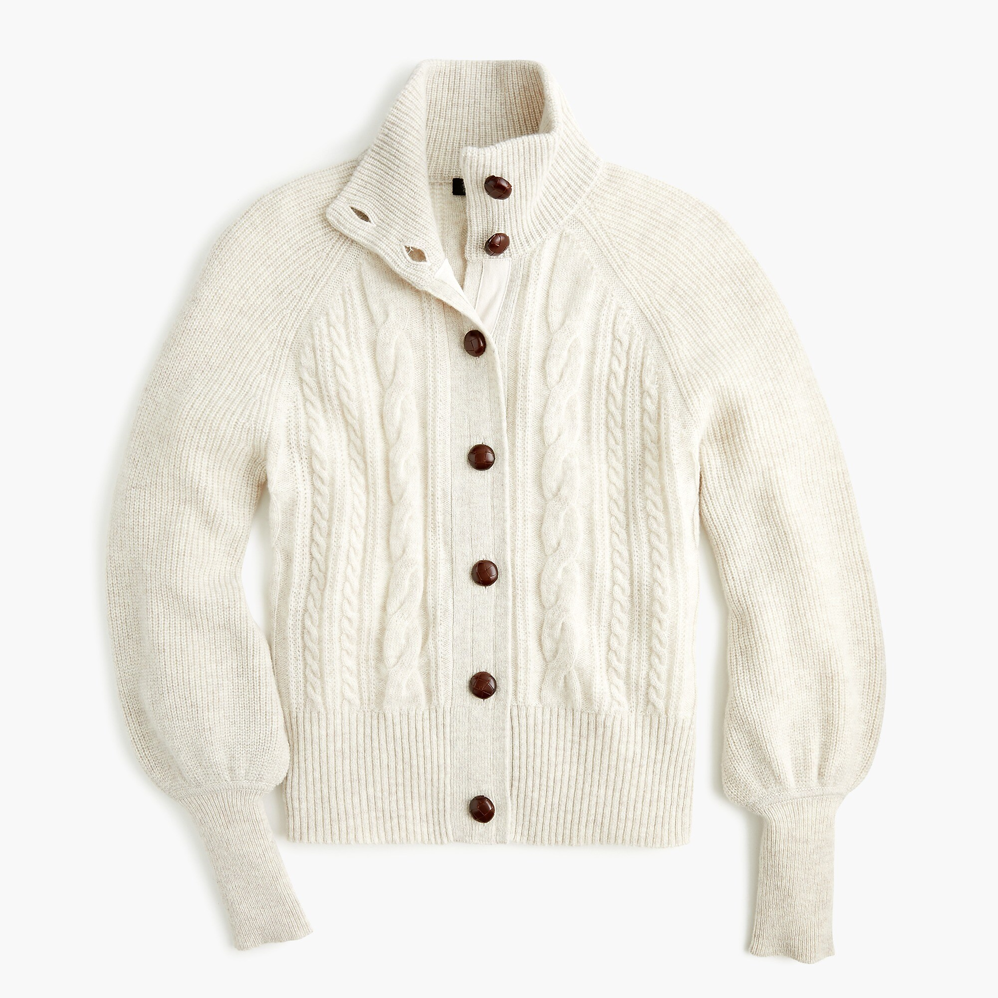 Balloon Sleeve Cable Knit Cardigan