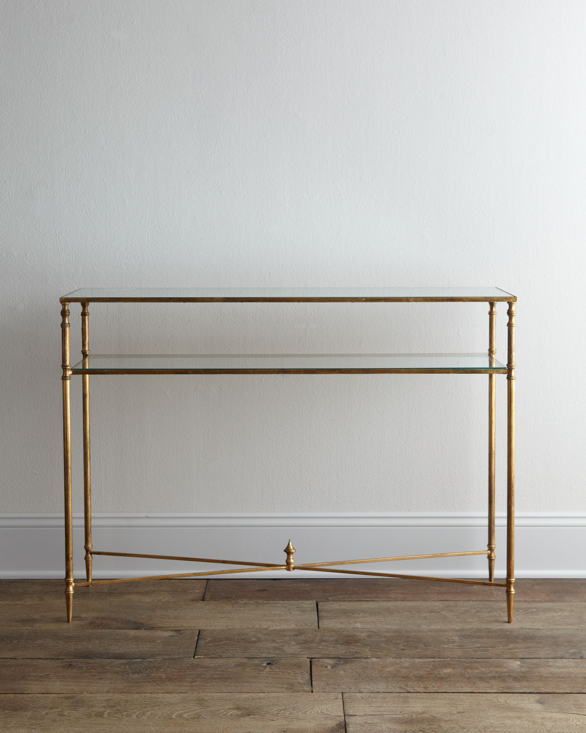 Antique Gold and Mirror Top Console Table