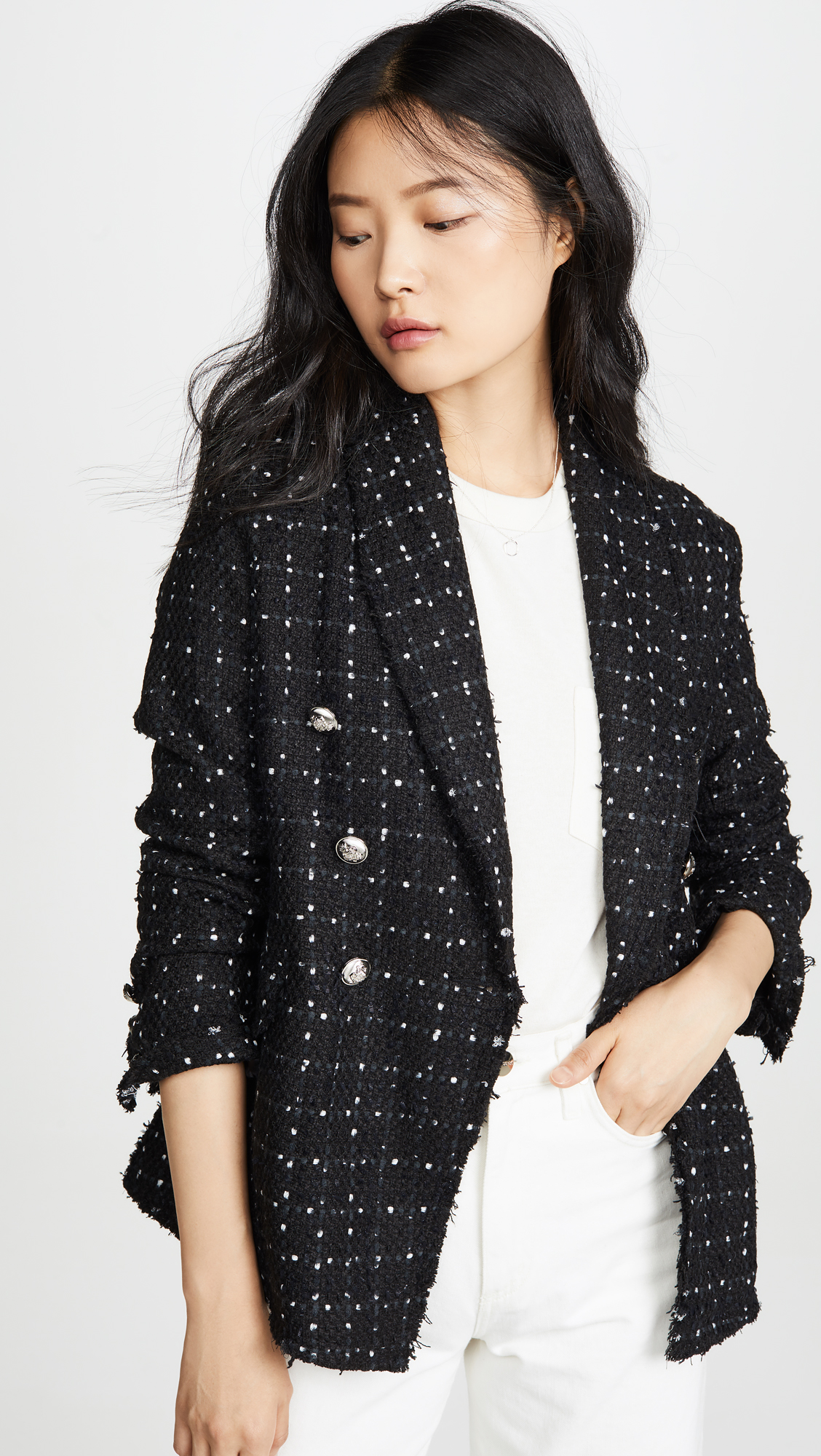 Black Double Breasted Weave Jacket