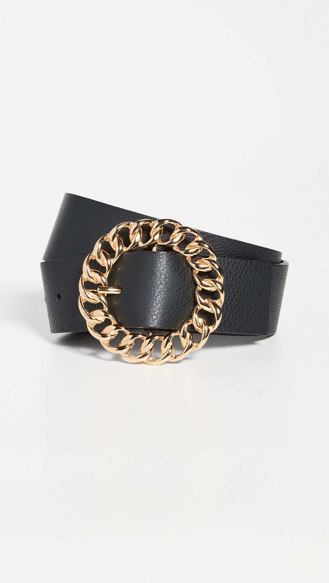 Black Leather Gold Chain Belt