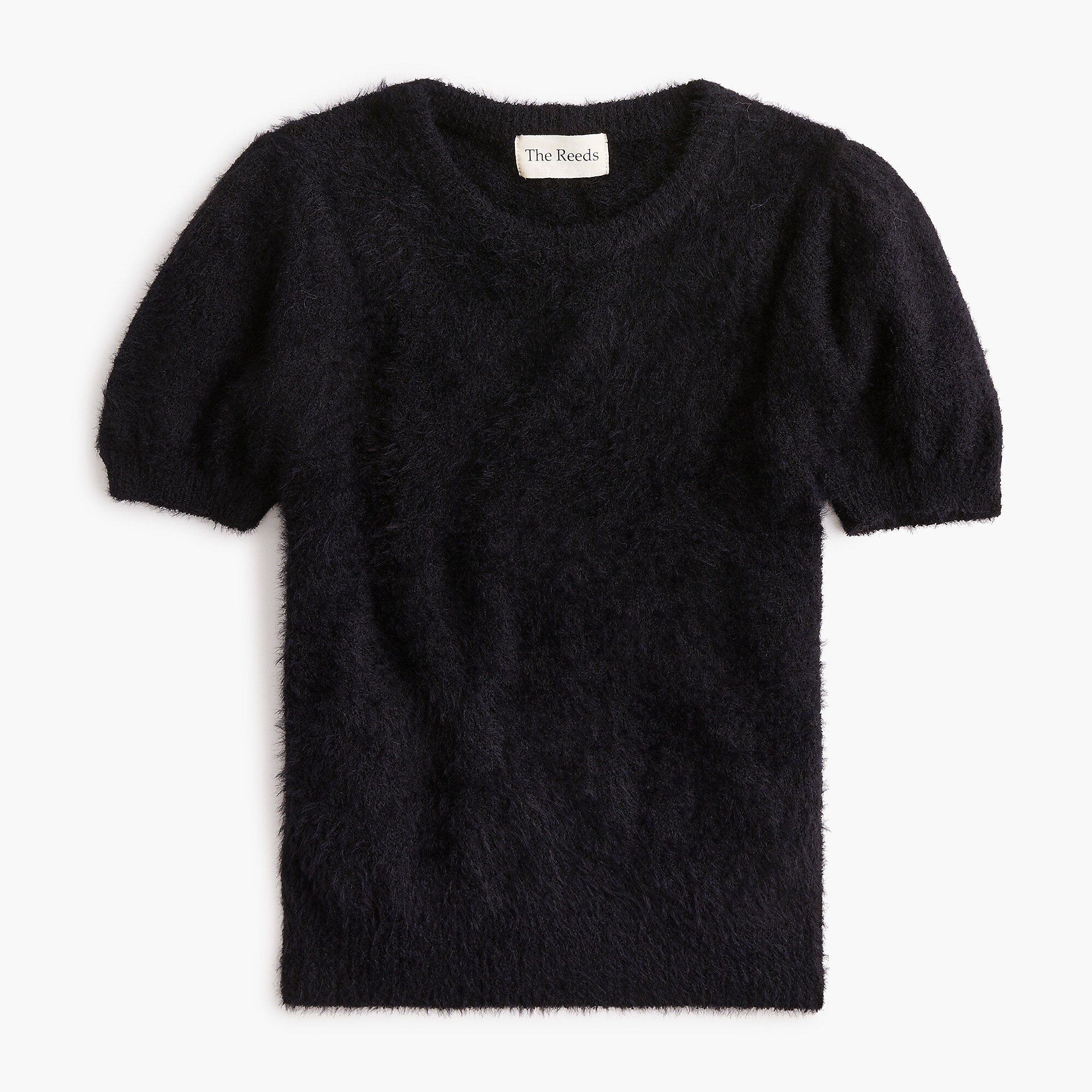 Black Puff Sleeve Fuzzy Sweater