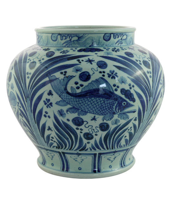 Blue and White Porcelain Jar Chinese Fish