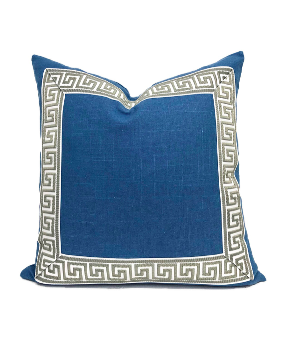 Blue Throw Pillow Greek Key Design Trim