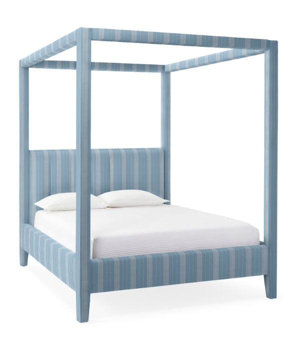 Blue and White Striped Upholstered Four Poster Canopy Bed