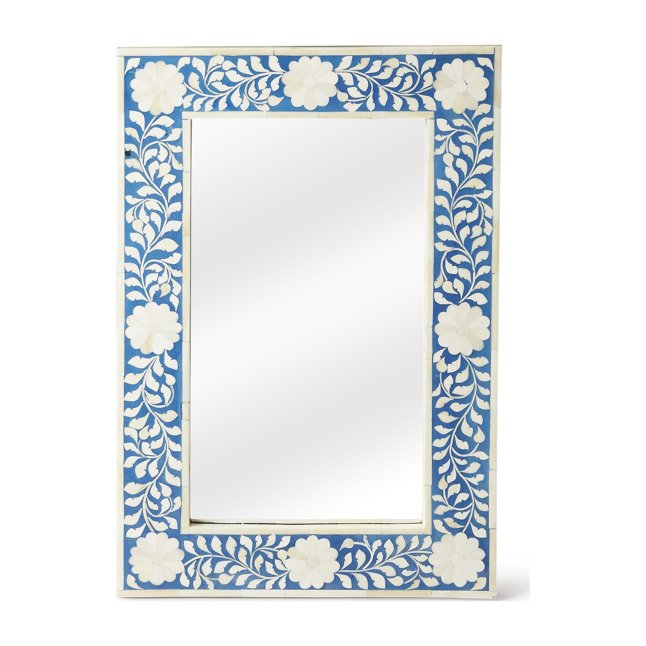 Blue and White Bony Inlay Floral Mirror
