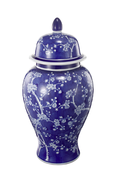 Blue and White Cherry Blossoms Ginger Jar