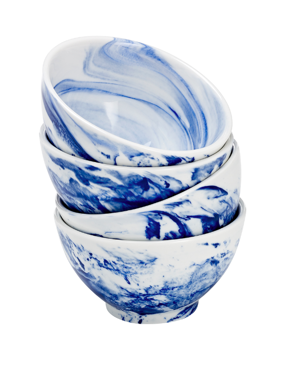 Blue and White Porcelain Marbled Bowls