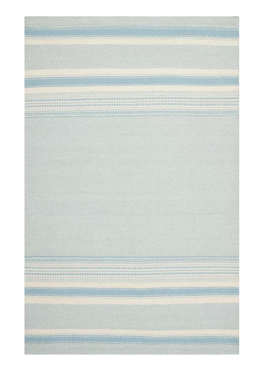 Blue and White Striped Kilim Area Rug