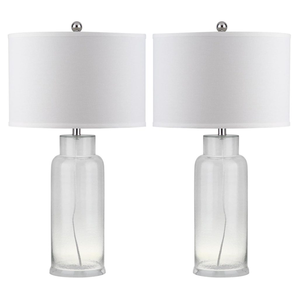 Bottle Glass Table Lamps Pair Nautical Beach House