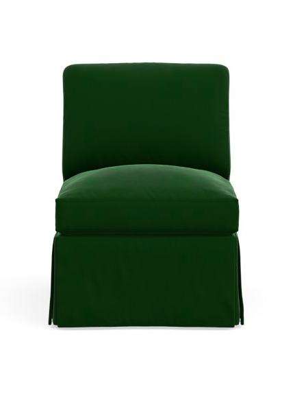 Green Velvet Slipper Chair Skirt Emerald