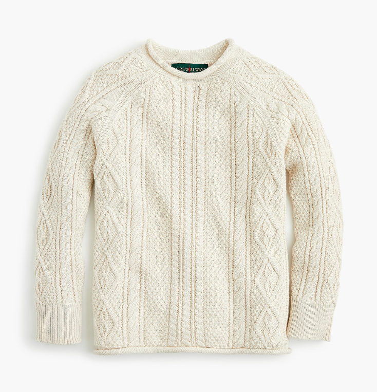 Boys' Cableknit Rollneck Sweater