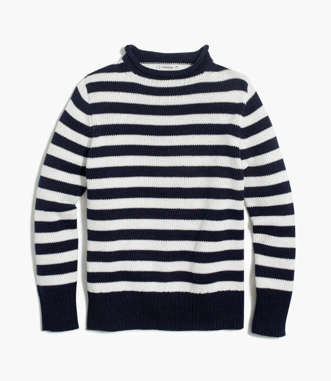 Boys' Striped Cotton Rollneck Sweater Navy White Nautical