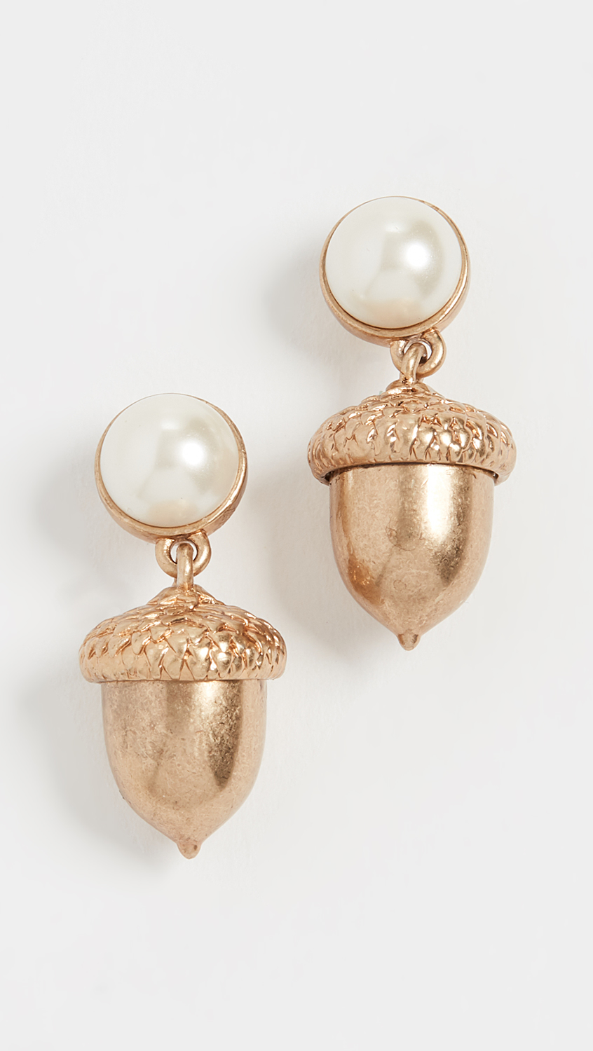 Antiqued Brass Pearl and Acorn Charm Earrings