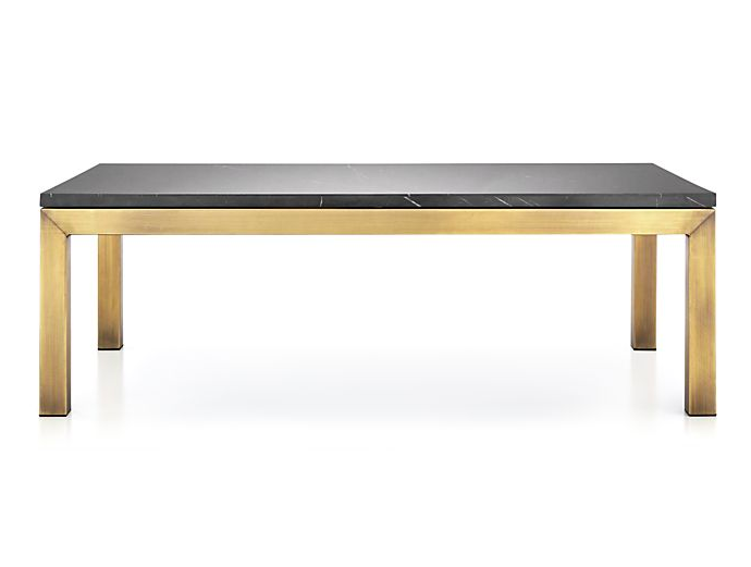 Brass Base Coffee Table with Black Marble Top