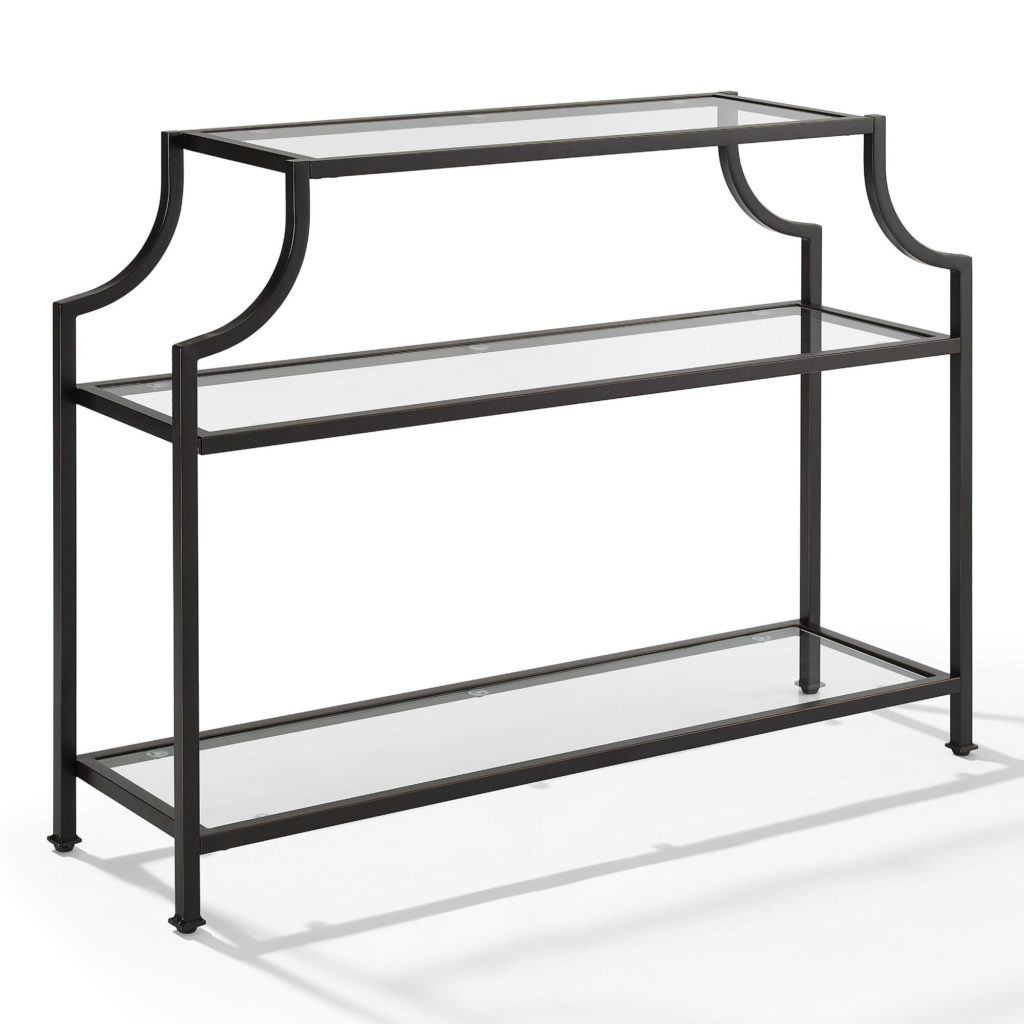 Steel Frame Pagoda Style Console Table