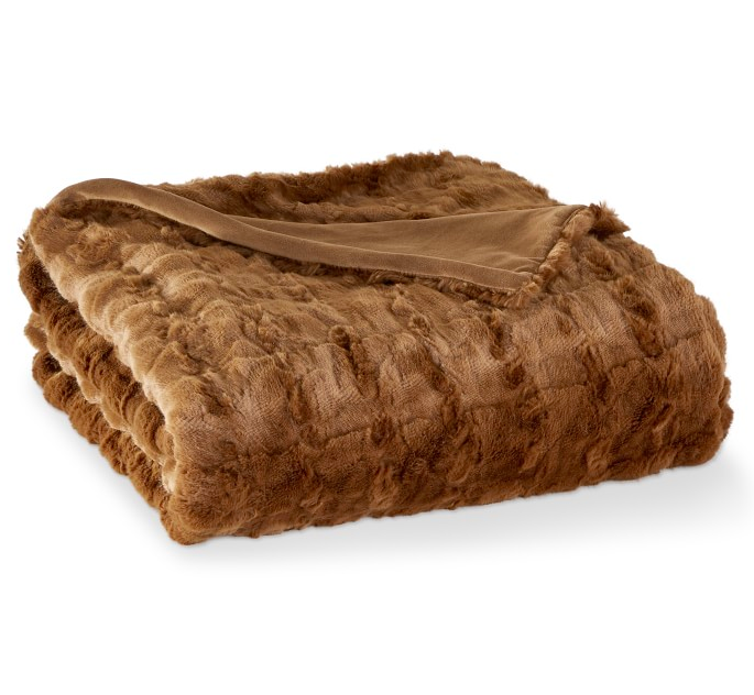 Brown Faux Fur Throw Blanket