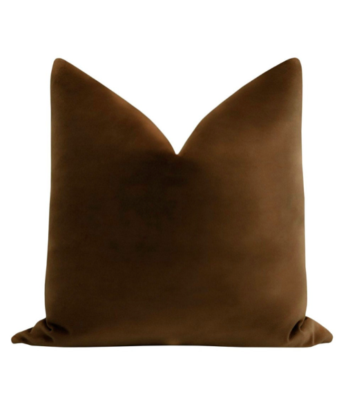 Brown Velvet Throw Pillows Decorative Etsy