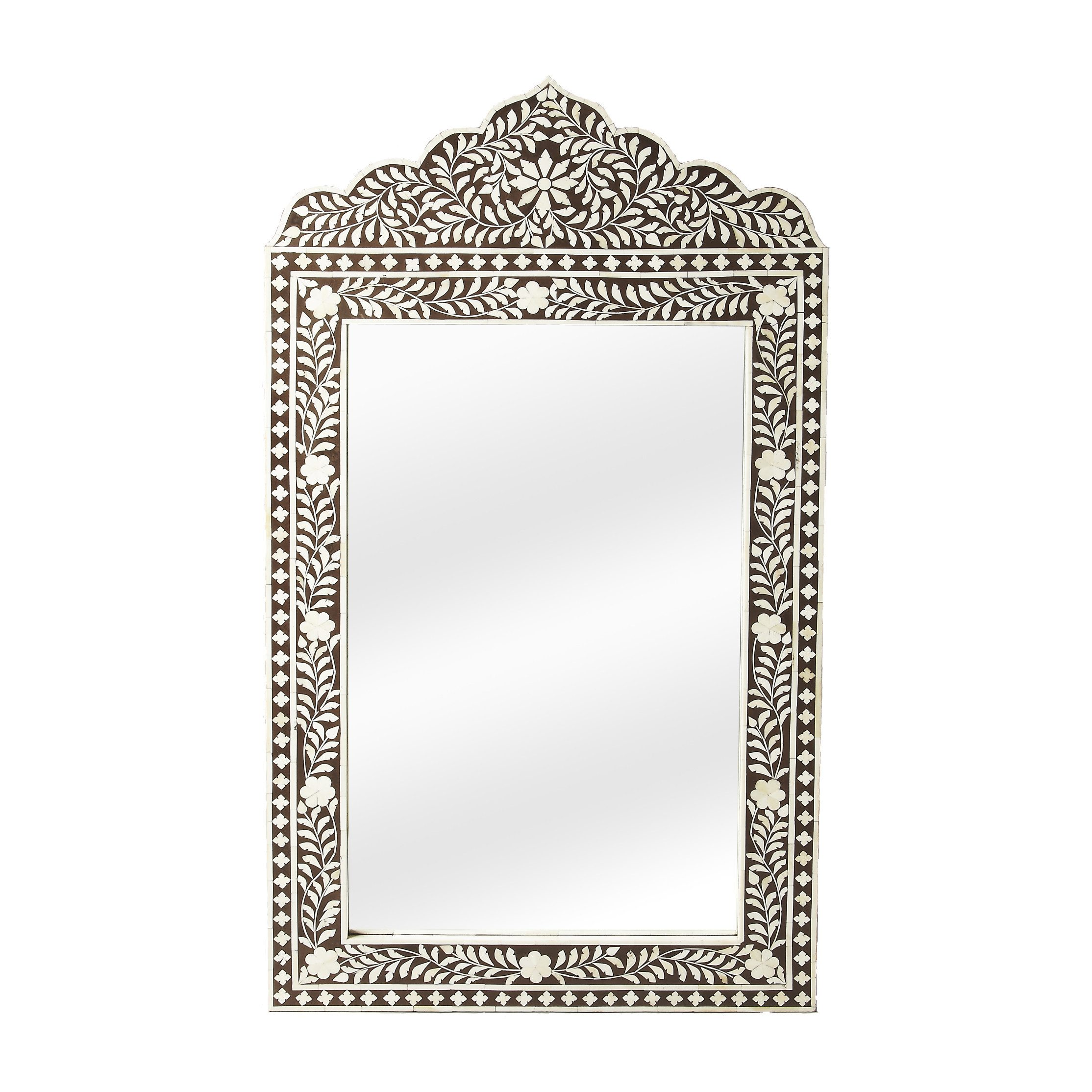 Brown and White Bony Inlay Mirror