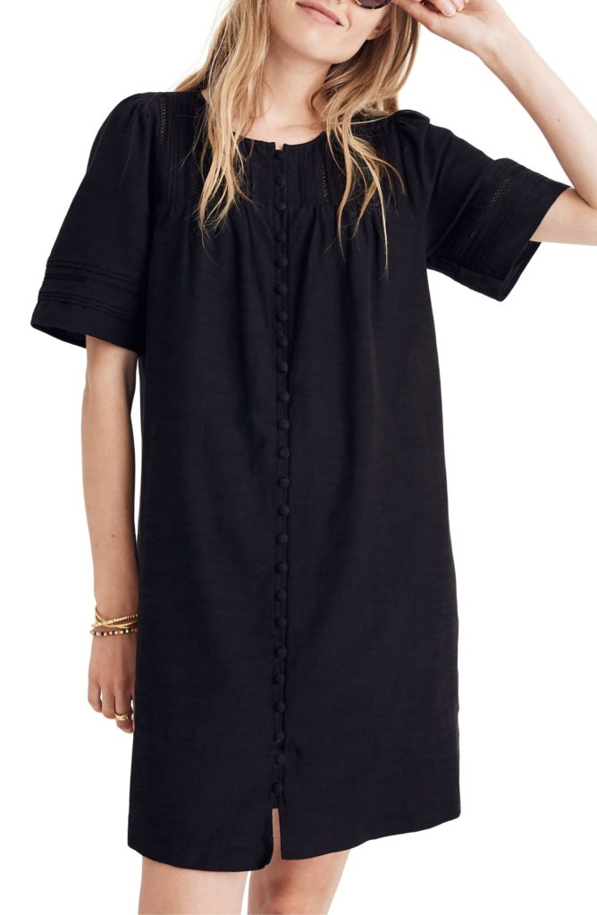 Button Front Pleated Shift Dress