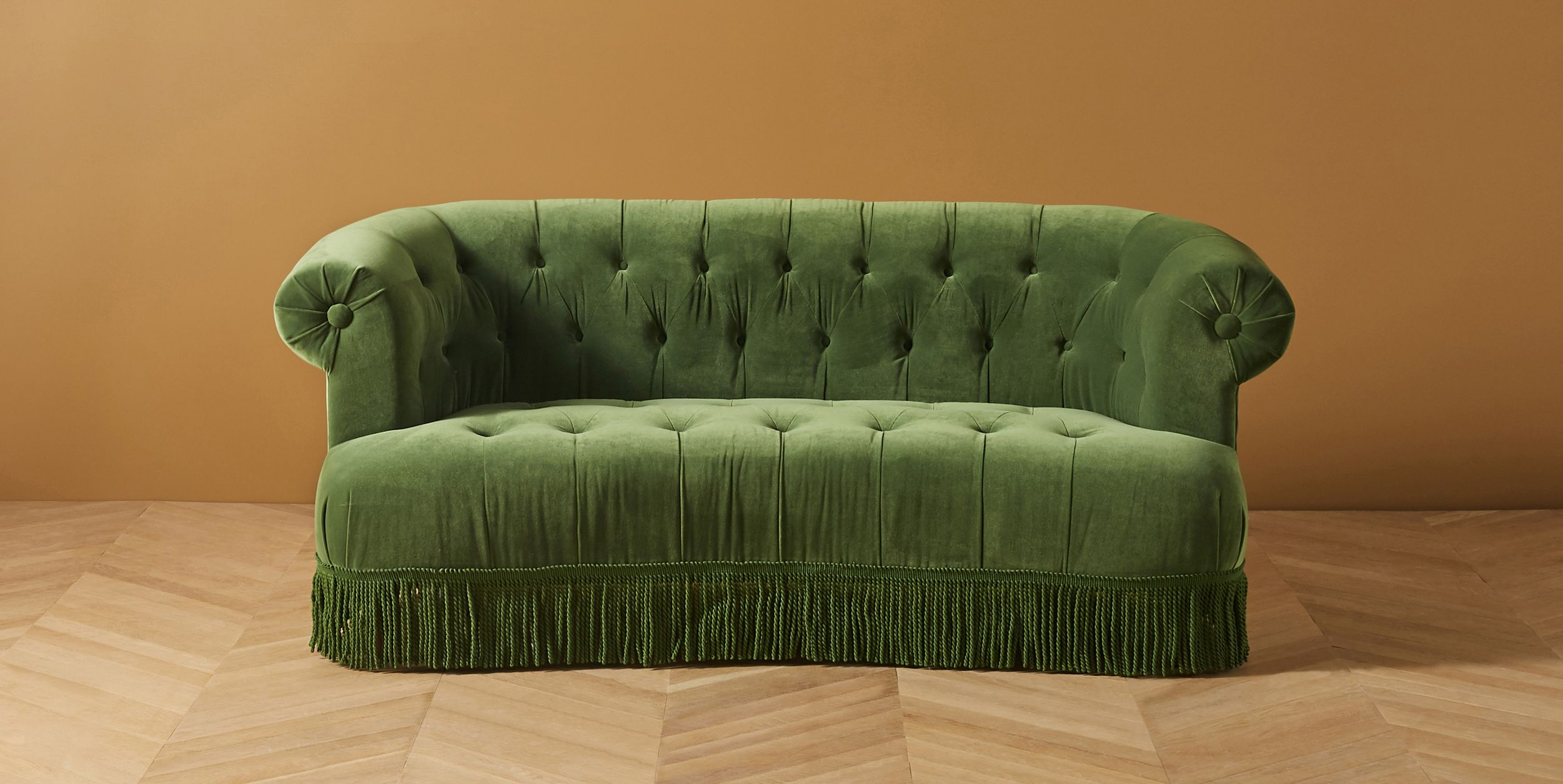 Button Tufted Curved Sofa