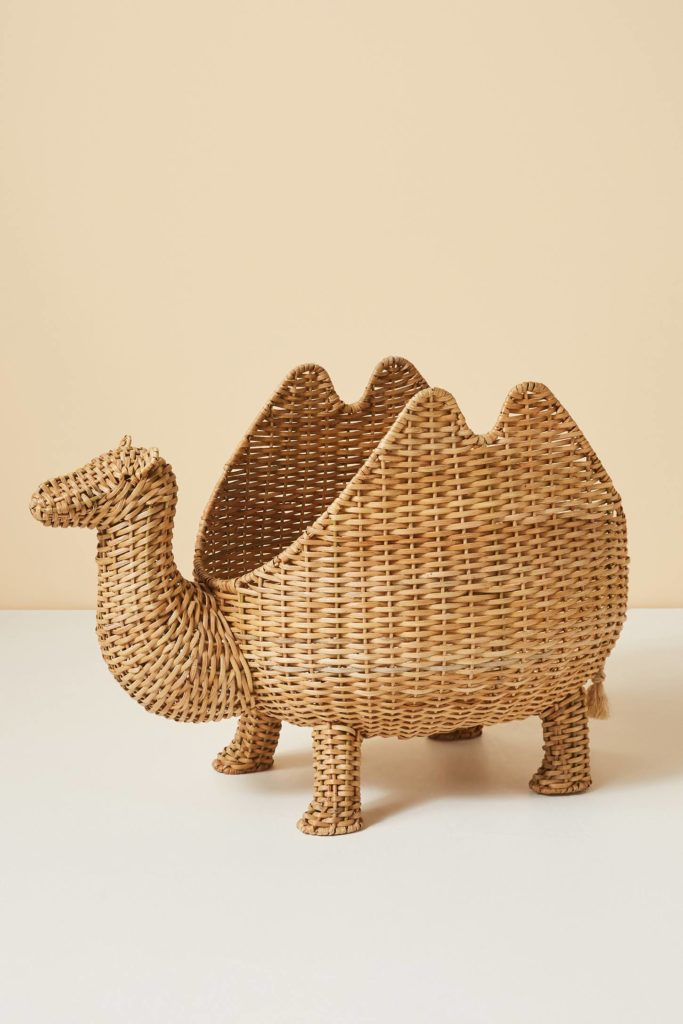 Camel Storage Basket Woven Rattan Wicker