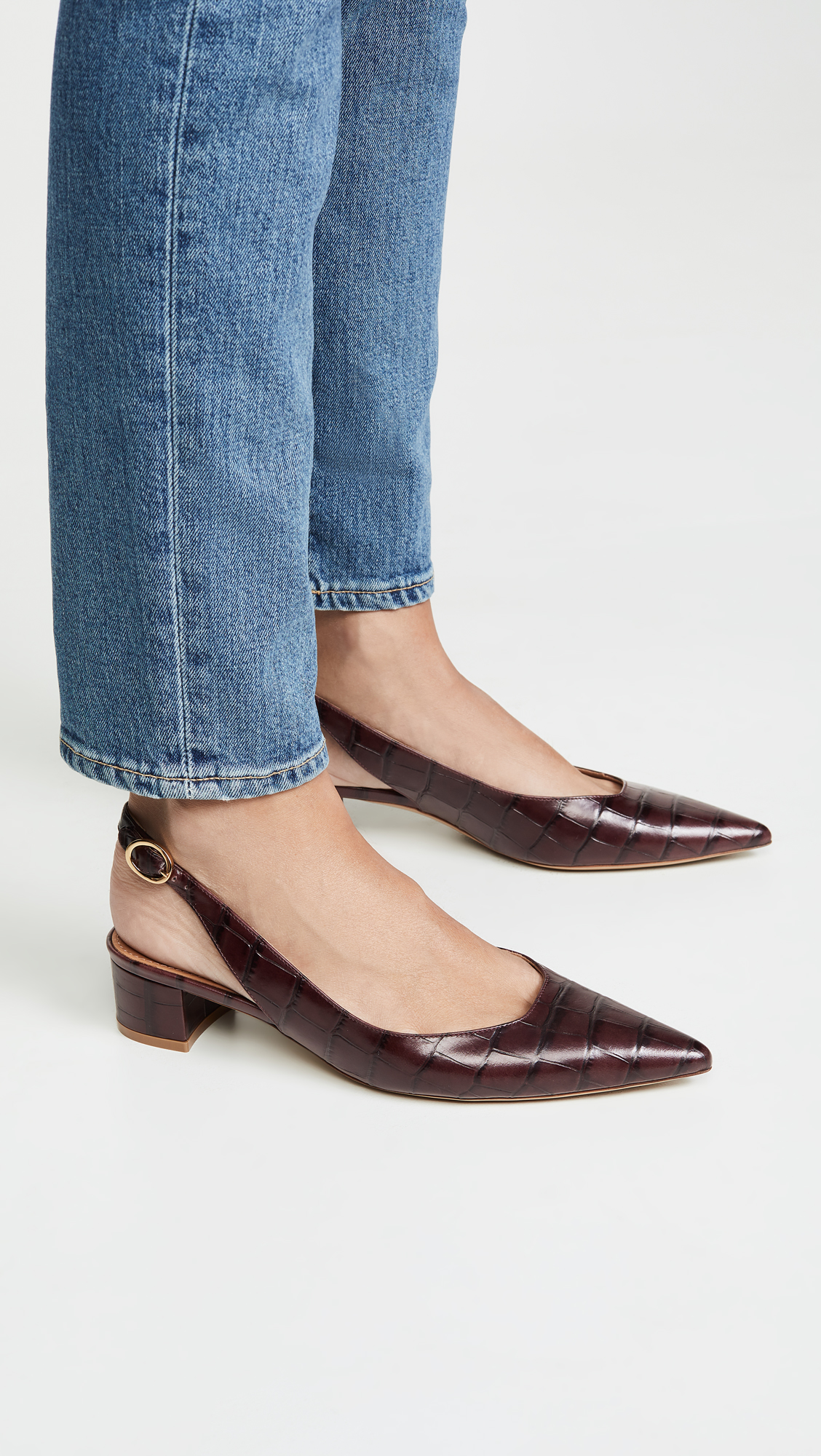 Croc Embossed Slingback Pumps