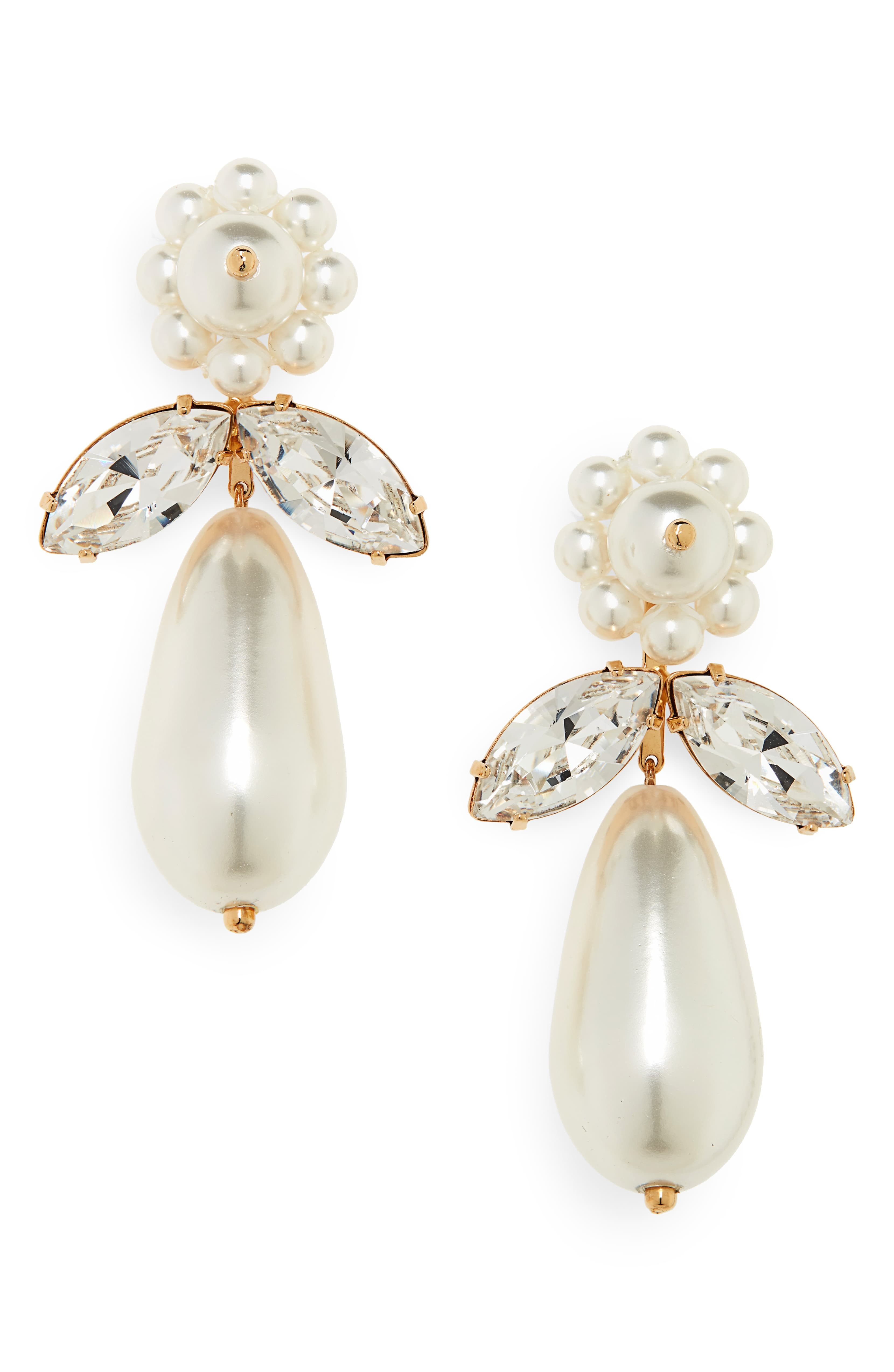 Clustered Imitation Pearl Drop Earrings