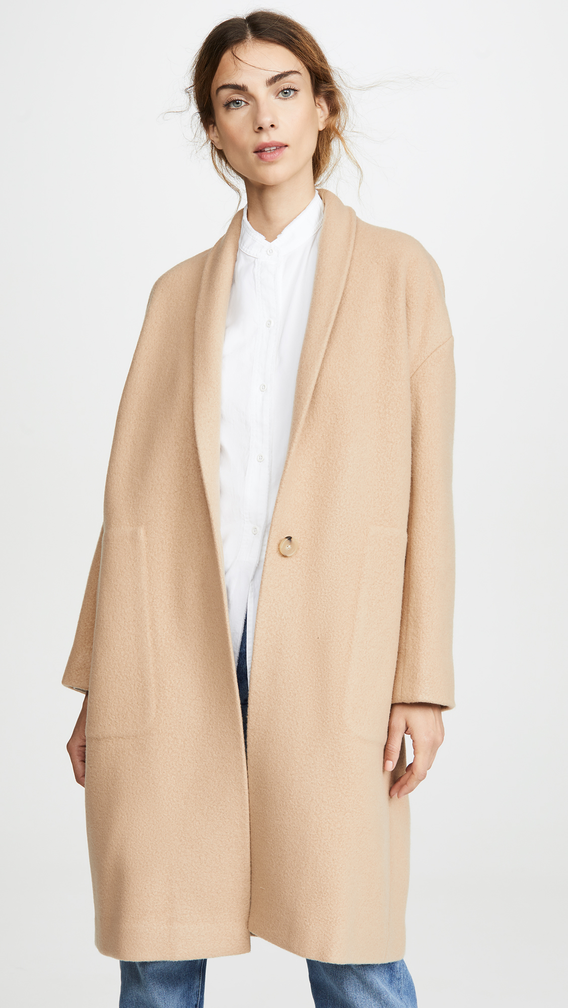 Tan Collarless Long Coat
