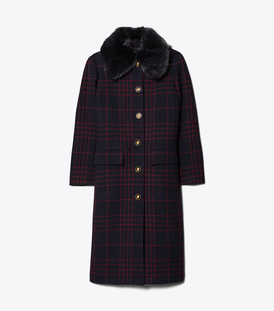 Navy and Red Wool Convertible Coat