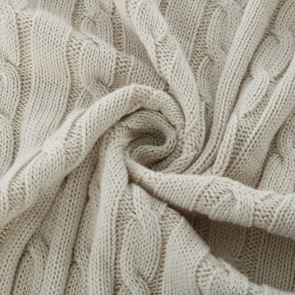 Cotton Cable Knitted Throw Blanket