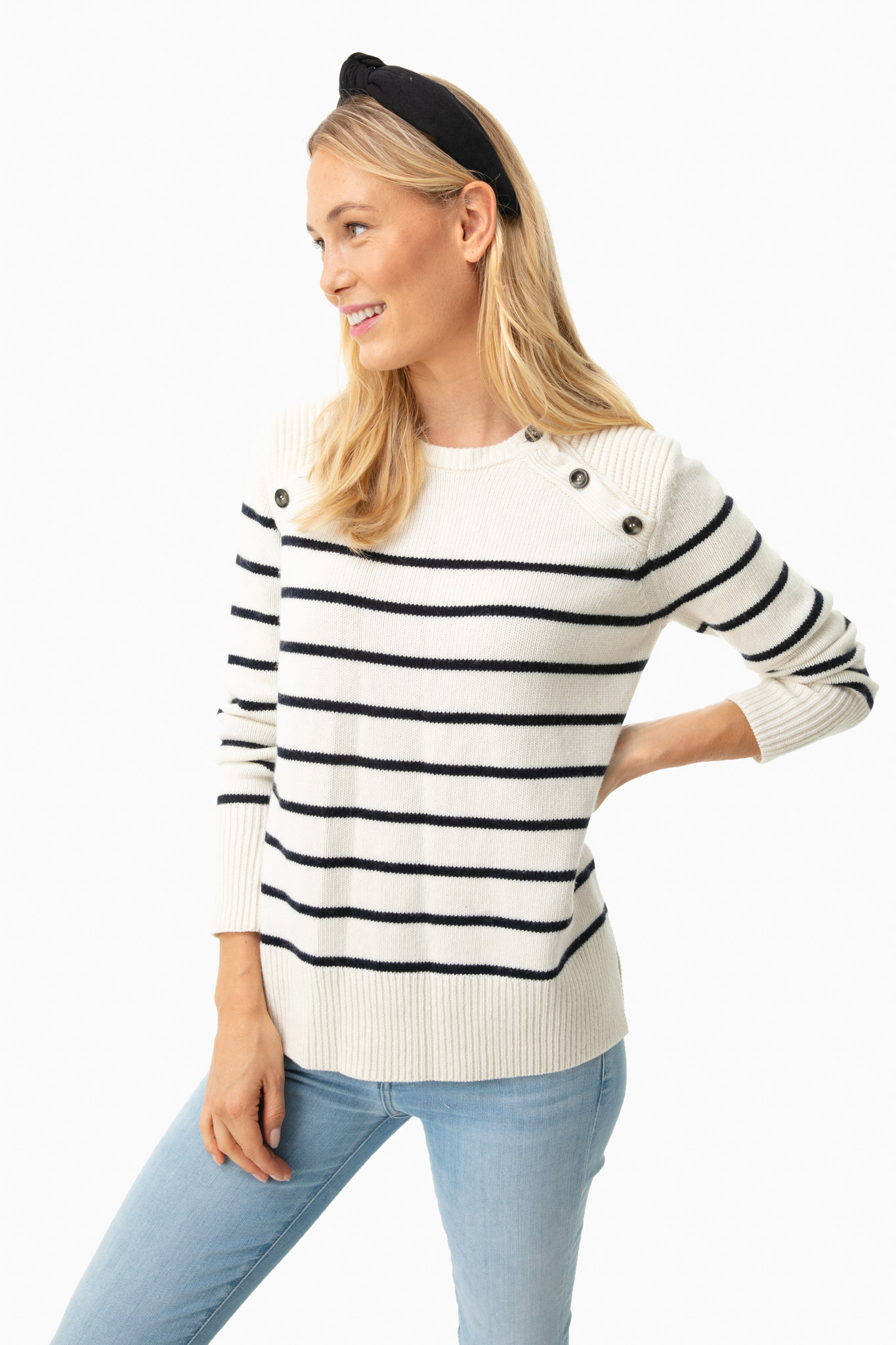 Button Shoulder Striped Sweater