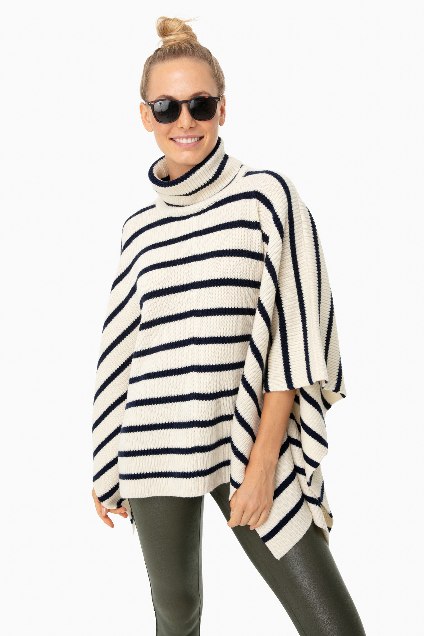 Striped Poncho Turtleneck Sweater