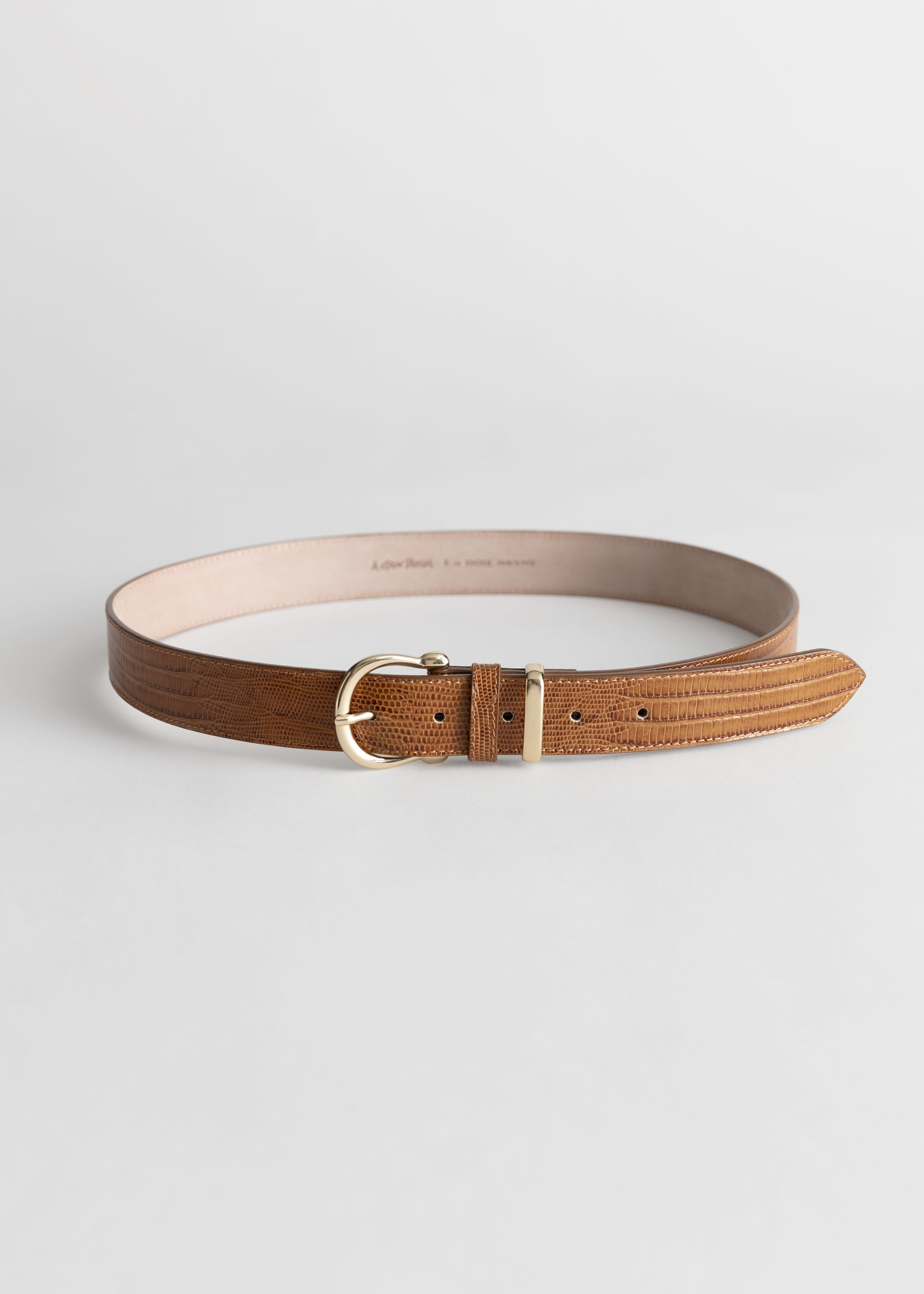Croc Embossed Leather Belt