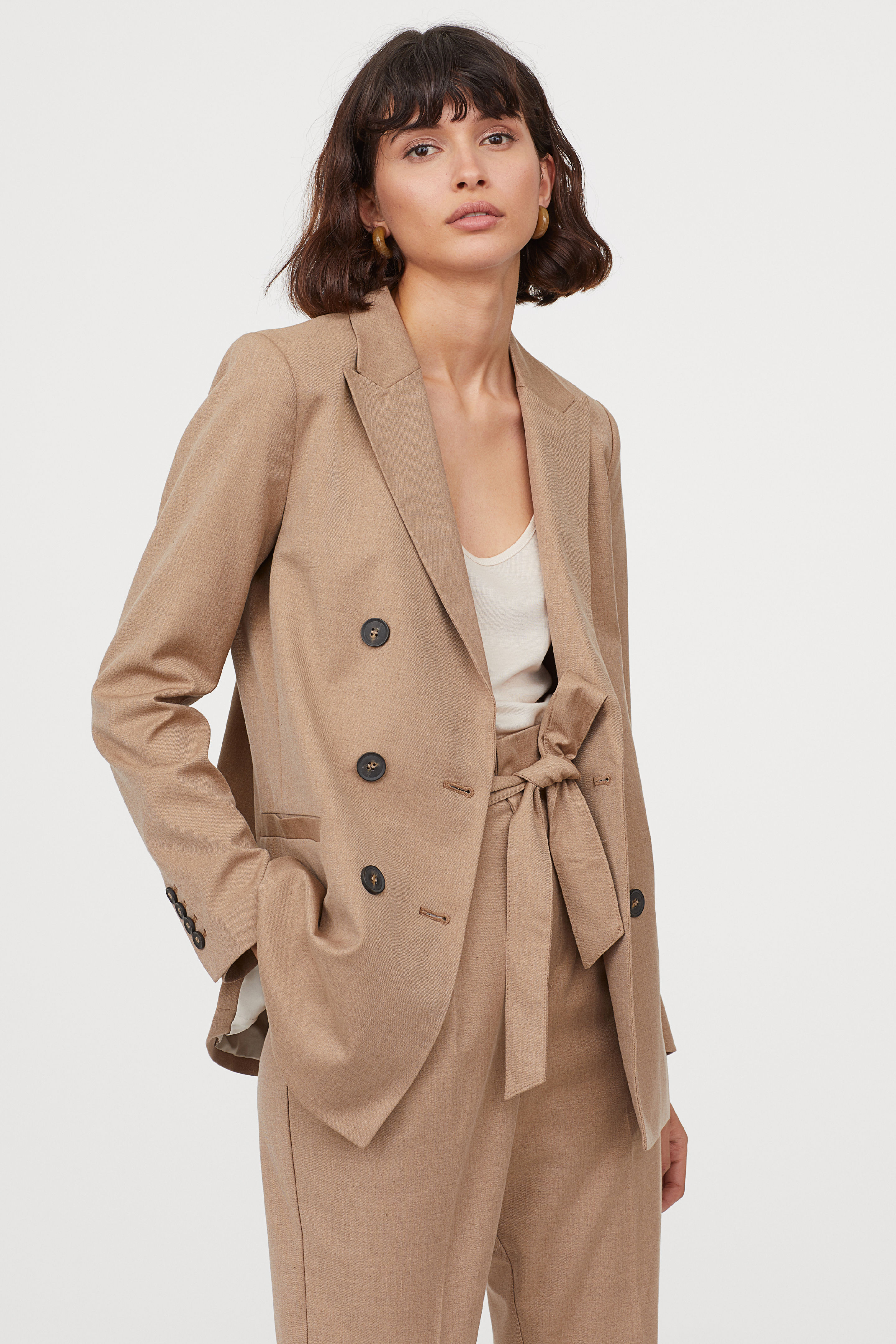Double Breasted Beige Jacket