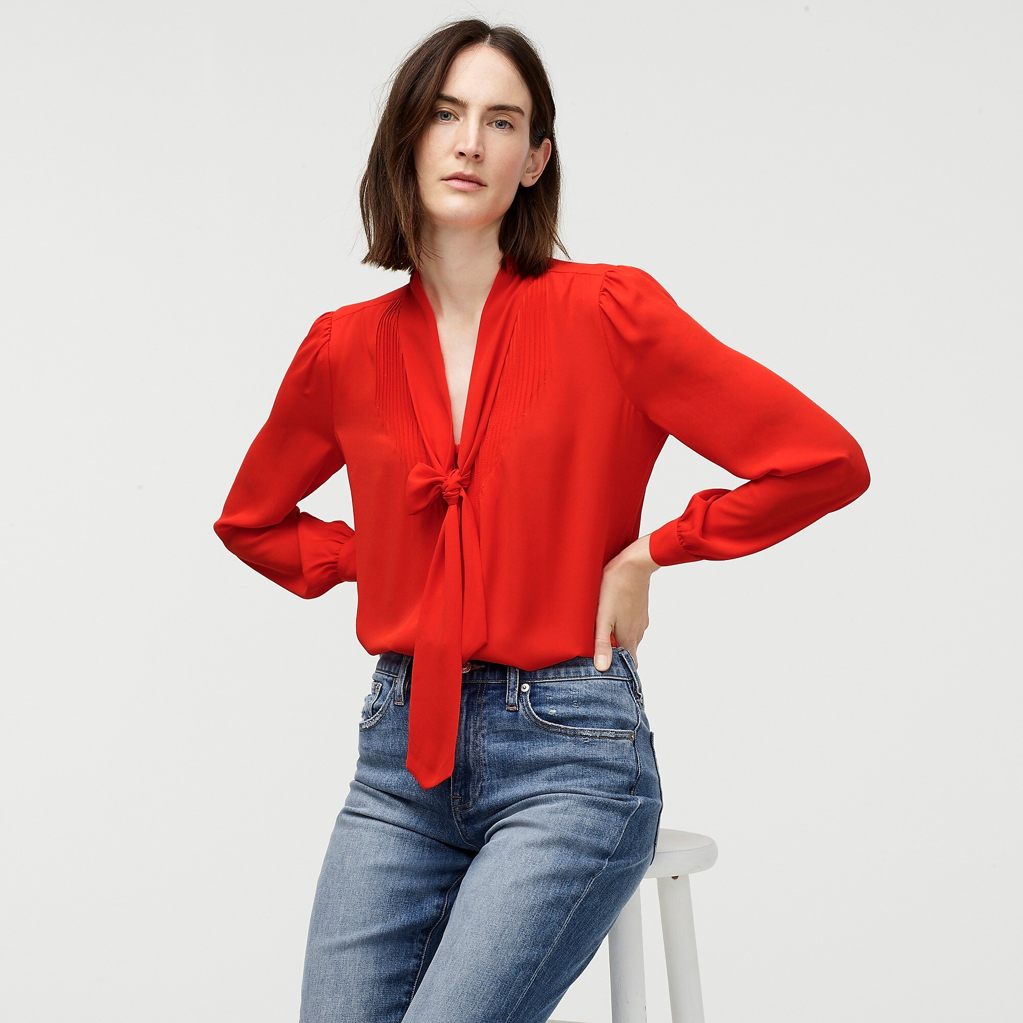 Red Drapey Tie Neck Blouse