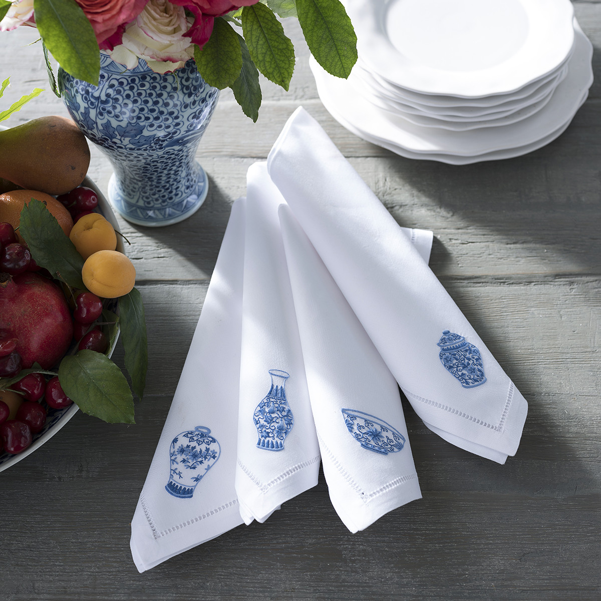 Embroidered Chinese Pottery Dinner Napkins